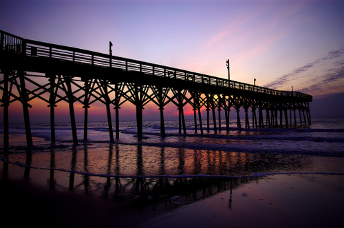 A pier in Myrtle Beach at Sunrise