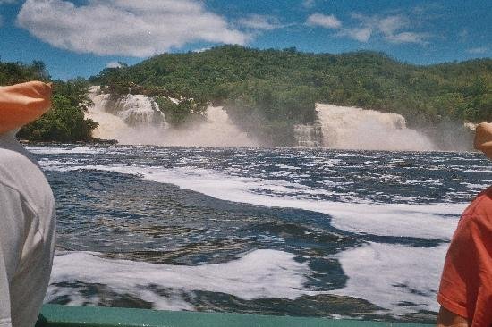 View of waterfalls from the boat